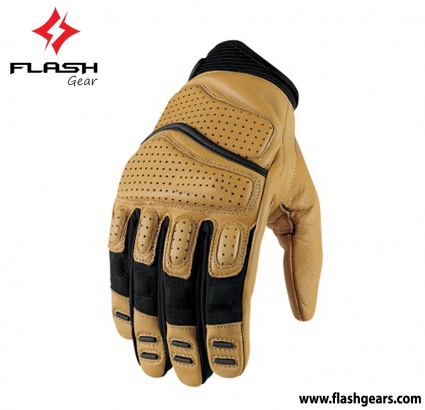 Flash Gear Yellow Leather Cafe Race Gloves