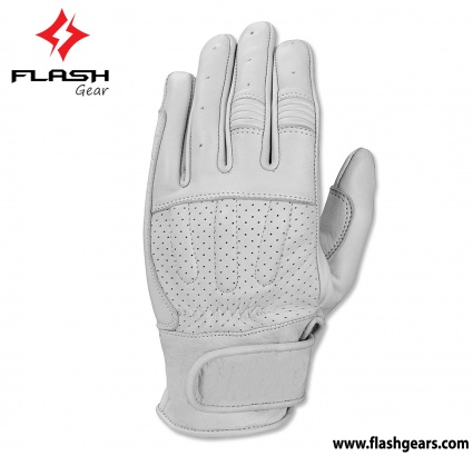 Motorcycle Summer White Leather Gloves