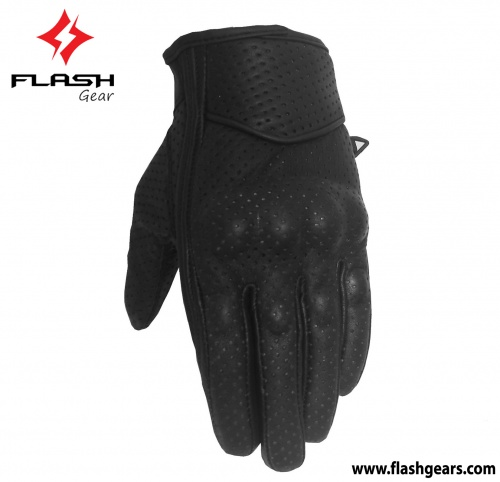 Flash Gear Leather Short Cuff Motorcycle Gloves