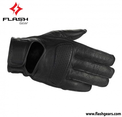 Flash Gear Black Leather Short Cuff Gloves