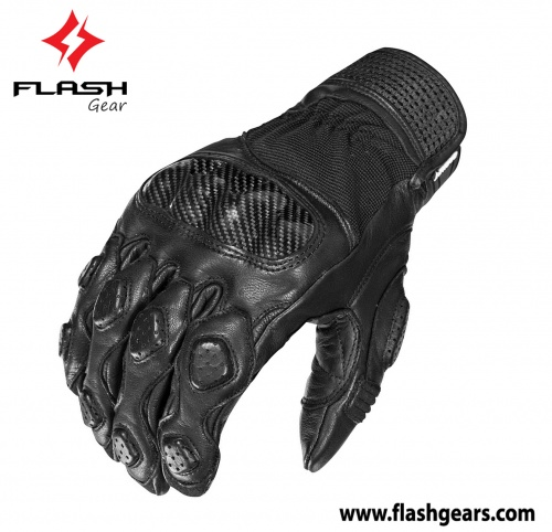 Flash Gear Motorcycle Short Leather Gloves