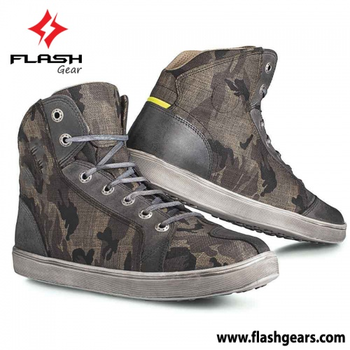 Camouflage Motorcycle Sneaker Boot