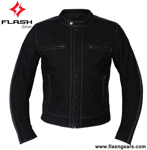 Motorcycle Black Leather Cafe Jacket