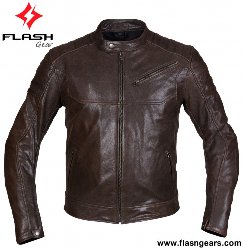 Motorcycle Brown Leather Cafe Biker Jacket