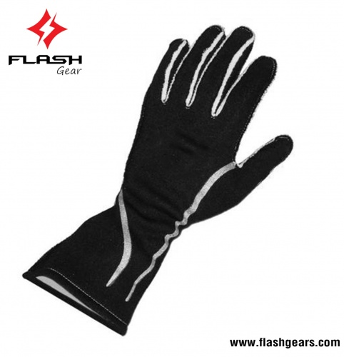 Flash Gear 2 Layer Black Nomex Kart Gloves
