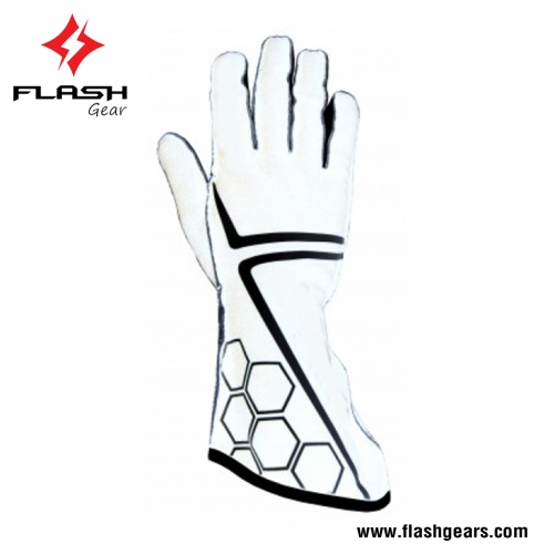 Flash Gear 2 Layer White Nomex Kart Gloves